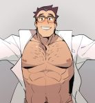 1boy adonis_belt blush brown_hair chest_hair glasses gradient gradient_background grey_background labcoat looking_at_viewer male_focus muscle naked_labcoat nipples out-of-frame_censoring pokemon pokemon_(anime) pokemon_swsh_(anime) sakuragi_(pokemon) saturday_(hokawazu) simple_background solo sweatdrop toned toned_male