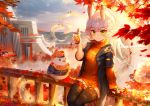 1girl absurdres animal animal_ears arm_support autumn_leaves azur_lane bangs bird black_jacket black_legwear blue_sky blurry blurry_foreground blush breasts bubble_tea building cabbie_hat closed_mouth clothed_animal clouds commentary_request cup day depth_of_field disposable_cup drawstring drinking_straw eyebrows_visible_through_hair green_eyes hat highres holding holding_cup huge_filesize jacket janyhero kitakaze_(azur_lane) leaf long_hair long_sleeves looking_at_viewer maple_leaf on_railing open_clothes open_jacket orange_headwear orange_sweater outdoors railing ribbed_sweater short_over_long_sleeves short_sleeves silver_hair sitting sitting_on_railing sky small_breasts smile solo sweater thigh-highs turtleneck turtleneck_sweater