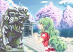 1girl architecture arms_up blue_sky blush cherry_blossoms clouds commentary_request day east_asian_architecture from_side green_eyes green_hair hakurei_shrine horns kariyushi_shirt komainu komano_aun long_hair looking_to_the_side open_mouth outdoors paw_pose red_shirt rope sachisudesu shide shimenawa shirt short_sleeves shrine sky standing statue stone_walkway touhou tree upper_body very_long_hair wavy_hair
