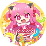 1girl :d ahoge angel_beats! animal_ears bangs blush bow cat_ears cat_tail dress elbow_gloves eyebrows_visible_through_hair fang full_body gloves hair_between_eyes hair_bow long_hair looking_at_viewer nakamura_hinato open_mouth outstretched_arms pink_eyes pink_hair polka_dot polka_dot_dress red_bow red_dress red_eyes red_gloves shiny shiny_hair short_dress sleeveless sleeveless_dress smile solo standing standing_on_one_leg striped striped_dress striped_legwear tail thigh-highs very_long_hair white_background yui_(angel_beats!) zettai_ryouiki
