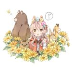 1girl :d animal animal_ear_fluff animal_ears animal_on_head bangs bear bird bird_on_head blue_flower bluebird blush boar brown_eyes bug butterfly capelet commentary_request eyebrows_visible_through_hair fang flower fox hair_between_eyes hair_flower hair_ornament hair_ribbon hand_up hood hood_down hooded_capelet insect long_hair long_sleeves looking_at_viewer on_head open_mouth original pink_flower pink_hair rabbit red_capelet red_ribbon ribbon shirt smile solo translation_request wataame27 white_background white_shirt wolf-chan_(wataame27) wolf_ears yellow_flower