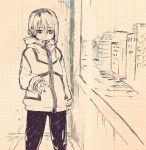 1girl coat commentary_request highres jacket kotoyama looking_at_viewer medium_hair original pants solo sweatpants