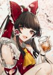 1girl :d absurdres bangs bare_shoulders black_hair blush bow brown_eyes cherry_blossoms commentary_request cup daimaou_ruaeru detached_sleeves drinking_glass eyebrows_visible_through_hair frilled_bow frills grey_background hair_bow hair_tubes hakurei_reimu hand_up head_tilt highres holding holding_cup long_hair long_sleeves looking_at_viewer open_mouth petals red_bow sidelocks sitting smile solo touhou upper_body wide_sleeves wristband