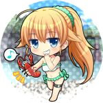 1girl ahoge angel_beats! artist_name bangs barefoot bikini blonde_hair blue_eyes blurry blurry_background blush chibi eyebrows_visible_through_hair frilled_bikini frills full_body green_scrunchie grin hair_between_eyes hair_ornament hair_scrunchie holding leg_up long_hair looking_at_viewer musical_note nakamura_hinato polka_dot polka_dot_background ponytail scrunchie sekine smile solo standing standing_on_one_leg swimsuit thigh_strap very_long_hair white_background white_bikini