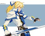 1boy absurdres black_gloves blonde_hair blue_eyes bright_pupils fingerless_gloves gloves guilty_gear guilty_gear_xrd hair_ornament high_collar highres holding holding_sword holding_weapon ky_kiske long_hair male_focus millerbrave ponytail serious simple_background solo sword turtleneck twitter_username upper_body weapon white_background white_pupils