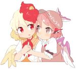 2girls animal animal_ears animal_on_head bird bird_wings blonde_hair brown_eyes brown_headwear chick commentary_request earrings eye_contact eyebrows_visible_through_hair feathered_wings hands_together hat holding_hands ini_(inunabe00) jewelry looking_at_another multicolored_hair multiple_girls mystia_lorelei niwatari_kutaka no_pupils on_head pink_hair puffy_short_sleeves puffy_sleeves red_eyes redhead short_hair short_sleeves simple_background touhou two-tone_hair upper_body white_background winged_hat wings