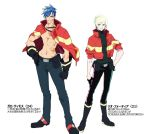 2boys belt_pouch blonde_hair blue_eyes blue_hair boots dorina earrings firefighter galo_thymos gloves green_hair half_gloves jacket_on_shoulders jewelry lio_fotia male_focus multiple_boys older pouch promare scar shirtless spiky_hair turtleneck violet_eyes white_background