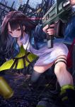 1girl black_hair black_legwear blue_jacket c-ms_(girls_frontline) city firing girls_frontline gun highres jacket knoy3356 long_hair one_knee rain red_eyes shell_casing single_knee_pad single_thighhigh skindentation solo thigh-highs tongue tongue_out weapon