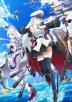 absurdres aircraft apron azur_lane belfast_(azur_lane) belt black_belt black_coat black_neckwear bow_(weapon) braid coat enterprise_(azur_lane) french_braid frilled_apron frills gloves hat highres maid maid_apron maid_headdress military military_hat military_vehicle open_clothes open_coat ship silver_hair skirt skirt_lift sleeveless torpedo warship watercraft weapon white_apron white_gloves