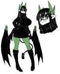 1girl :o black_hair black_sweater blush boots breasts demon_tail demon_wings dress glasses green_legwear hand_on_hip high_heels highres horns huge_breasts juugoya_(zyugoya) legs limited_palette merii_(musuko_ga_kawaikute_shikatanai_mazoku_no_hahaoya) musuko_ga_kawaikute_shikatanai_mazoku_no_hahaoya pantyhose pointy_ears sweater sweater_dress tail tongue tongue_out turtleneck turtleneck_sweater white_background wings
