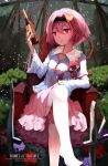 1girl armchair artist_name bangs black_hairband blue_shirt bottle buttons chair character_name collared_shirt eyeball eyebrows_visible_through_hair flower frilled_shirt frilled_shirt_collar frilled_sleeves frills hair_ornament hairband heart heart_hair_ornament heart_of_string highres holding holding_bottle komeiji_satori leg_up long_sleeves no_shoes outdoors parted_lips petals petticoat pink_hair pink_skirt purple_flower purple_rose red_eyes red_flower red_rose rose shirt short_hair sitting skirt snozaki solo thigh-highs third_eye touhou white_legwear wide_sleeves