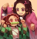 1boy 1girl asa_no_ha_(pattern) bright_pupils brother_and_sister brown_hair checkered cheering clenched_hands earrings english_commentary hair_ribbon highres japanese_clothes jewelry kamado_nezuko kamado_tanjirou kimetsu_no_yaiba kimono pink_kimono ponytail ribbon role_reversal scar short_hair siblings smile wavy_hair