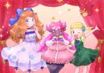 >_< 2girls :3 arm_up bangs blonde_hair blue_bow blue_eyes blue_flower blue_neckwear blue_ribbon blush blush_stickers bow breasts brown_hair child choker closed_eyes clothed_pokemon collarbone crystal curtains dedenne diancie dress eureka_(pokemon) eyebrows_visible_through_hair flat_chest floral_print flower gen_6_pokemon green_dress green_shirt hair_bow hair_flower hair_ornament hair_ribbon hand_up happy highres legendary_pokemon long_hair looking_at_viewer multiple_girls neck_ribbon one_eye_closed open_mouth pink_dress pink_eyes pokemon pokemon_(anime) pokemon_(creature) pokemon_m17 puffy_short_sleeves puffy_sleeves red_bow ribbon serena_(pokemon) shiny shiny_hair shirt short_hair short_sleeves side_ponytail sleeveless sleeveless_dress small_breasts smile sparkle standing tied_hair white_dress yuki56