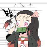 1girl angry bamboo bit_gag black_hair bug chibi chinese_commentary chinese_text commentary_request cowboy_shot gag hair_ribbon haori highres insect japanese_clothes kamado_nezuko kimetsu_no_yaiba kimono looking_to_the_side miin_miin mosquito motion_blur motion_lines mouth_hold multicolored_hair obi pink_eyes pink_kimono pink_ribbon redhead ribbon sash slapping solo veins