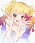 1girl :d aikatsu!_(series) aikatsu_stars! bangs bare_arms bare_shoulders blonde_hair blush bow breasts brown_eyes double_w downblouse dress dutch_angle eyebrows_visible_through_hair from_above grey_background hair_bow hands_up highres k_mugura long_hair looking_at_viewer nijino_yume open_mouth red_bow round_teeth simple_background sleeveless sleeveless_dress small_breasts smile solo teeth twintails upper_teeth very_long_hair w white_dress