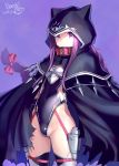 1girl artist_name black_leotard bosshi breastplate cloak closed_mouth collar commentary_request covered_navel dated fate/grand_order fate_(series) hair_ribbon highres hood leotard long_braid long_hair looking_at_viewer medusa_(lancer)_(fate) purple_background purple_hair red_collar ribbon rider signature simple_background solo very_long_hair violet_eyes