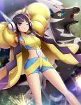 1girl armpits arms_behind_head arms_up black_hair blue_eyes breasts coat collarbone commentary_request dutch_angle gen_5_pokemon gonzarez gym_leader headphones highres kamitsure_(pokemon) long_hair long_sleeves looking_at_viewer midriff multicolored multicolored_clothes multicolored_shirt multicolored_shorts one_eye_closed open_mouth pokemon pokemon_(creature) pokemon_(game) pokemon_bw2 shiny shiny_skin shirt short_shorts shorts sleeveless sleeveless_shirt small_breasts sparkle teeth twintails very_long_hair yellow_coat yellow_sclera zebstrika