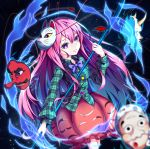 1girl absurdres aura black_background bow bowtie breasts circle commentary_request feet_out_of_frame fox_mask green_shirt hand_up hata_no_kokoro highres holding holding_spear holding_weapon huge_filesize light_particles long_hair long_sleeves looking_at_viewer mask mask_on_head naginata pink_eyes pink_hair pink_skirt plaid plaid_shirt polearm purple_bow purple_neckwear shirt skirt small_breasts solo spear star tassel tengu_mask touhou triangle very_long_hair weapon wing_collar x yamanakaume