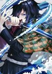 1boy absurdres belt belt_buckle black_hair black_jacket blue_eyes buckle buttons closed_mouth commentary_request eyebrows_visible_through_hair hair_between_eyes haori highres holding holding_sword holding_weapon jacket japanese_clothes katana kimetsu_no_yaiba looking_at_viewer male_focus medium_hair muru_(murr) ponytail solo sword tomioka_giyuu uniform water water_manipulation weapon white_belt