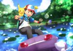 1boy :3 arms_up backpack bag bangs baseball_cap black_gloves black_hair black_pants blue_shirt blue_sky blurry blurry_background blush blush_stickers brown_eyes clouds day dutch_angle fingerless_gloves gen_1_pokemon gen_3_pokemon gen_5_pokemon genesect gloves grass happy hat highres legendary_pokemon light_blush lily_pad looking_down male_focus open_mouth outdoors outstretched_arm pants pier pikachu poke_ball_symbol poke_ball_theme pokemon pokemon_(anime) pokemon_(creature) pokemon_m16 red_eyes red_headwear riding sableye satoshi_(pokemon) shirt short_hair short_sleeves sky smile surfing teeth tree water yuki56 zipper_pull_tab