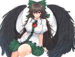 1girl :p absurdres bangs black_hair black_wings blush bow breasts cape commentary_request eyebrows_visible_through_hair feathered_wings green_bow green_skirt hair_between_eyes hair_bow highres large_breasts long_hair looking_at_viewer miniskirt phano_(125042) puffy_short_sleeves puffy_sleeves red_eyes reiuji_utsuho shirt short_sleeves simple_background sitting skirt smile solo thighs tongue tongue_out touhou very_long_hair wet wet_clothes wet_shirt white_background white_cape white_shirt wings