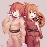 2girls absurdres alternate_costume blush breasts brown_eyes brown_hair eyebrows_visible_through_hair fan grey_background hair_between_eyes hair_ornament hairclip hamayuu_(litore) highres holding_hands ikazuchi_(kantai_collection) inazuma_(kantai_collection) japanese_clothes kantai_collection kimono long_hair multiple_girls one_eye_closed open_mouth paper_fan short_hair small_breasts smile yukata