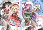 3girls :3 ajirogasa alternate_costume alternate_headwear black_hair blonde_hair bow braided_ponytail closed_eyes crescent doll fairy_wings fifiruu frills hat medicine_melancholy mittens multiple_girls palms_together patchouli_knowledge purple_hair red_bow red_ribbon ribbon snowflakes su-san touhou violet_eyes wings yatadera_narumi