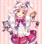 >_< 3girls :d absurdres akane_mimi animal_ears animal_hat animal_hood bandaged_arm bandaged_hands bandages bangs bell black_capelet black_footwear black_gloves black_skirt blush_stickers bow braid brown_eyes brown_hair bunny_hair_ornament bunny_hat candy_wrapper capelet cat_ears cat_hood chibi closed_eyes eyebrows_visible_through_hair fake_animal_ears frilled_skirt frills fur-trimmed_boots fur-trimmed_capelet fur-trimmed_hood fur-trimmed_skirt fur-trimmed_sleeves fur_trim gloves hair_ornament hat heart highres hikawa_kyoka hodaka_misogi holding hood hood_up hooded_capelet ichiren_namiro jingle_bell lightning_bolt lightning_bolt_hair_ornament long_hair long_sleeves low_twintails multiple_girls navel open_mouth orange_shorts pink_background pink_hair pleated_skirt polka_dot princess_connect! princess_connect!_re:dive puffy_shorts rabbit_ears red_skirt round_teeth short_shorts shorts skirt smile striped striped_background striped_legwear teeth thigh-highs twin_braids twintails upper_teeth v-shaped_eyebrows vertical-striped_background vertical_stripes very_long_hair white_bow wide_sleeves xd yellow_bow
