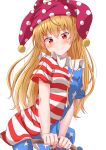 1girl absurdres american_flag_dress american_flag_legwear anger_vein bangs blonde_hair blue_dress blue_legwear blush clownpiece commentary_request cowboy_shot dress eyebrows_visible_through_hair hair_between_eyes hat head_tilt highres holding jester_cap long_hair looking_at_viewer mukkushi neck_ruff pantyhose polka_dot polka_dot_hat purple_headwear red_dress red_eyes short_dress short_sleeves simple_background smile solo standing star star_print striped striped_dress touhou white_background white_dress