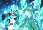 1boy animal_ears arlon_(pokemon) bangs black_cloak black_hair black_shirt blue_background cloak closed_eyes closed_mouth crying crystal fang fingerless_gloves furry gen_4_pokemon gloves glowing hair_over_one_eye hand_up happy hat highres knees_up looking_at_another lucario male_focus open_mouth paws pokemon pokemon_(anime) pokemon_(creature) pokemon_m08 red_eyes sad shirt short_hair sitting smile sparkle tail tears transparent wolf_ears yuki56