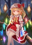 1girl blonde_hair blurry bokeh depth_of_field drop_earrings earrings expressionless eyebrows_visible_through_hair fang fang_out feet_out_of_frame flandre_scarlet forest garter_straps glowing glowing_wings hair_between_eyes hat hat_ribbon holding_lantern in_tree jewelry lantern looking_at_viewer mob_cap nail_polish nature night outdoors petticoat pointy_ears puffy_short_sleeves puffy_sleeves red_eyes red_nails red_skirt red_vest ribbon sakipsakip shirt short_hair short_sleeves side_ponytail single_earring sitting skirt solo thigh-highs touhou tree tree_branch vest white_headwear white_legwear white_shirt wings wrist_cuffs yellow_neckwear yellow_ribbon