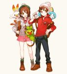 1boy 1girl backpack bag bangs beanie beret black_pants blue_eyes blush blush_stickers breasts brown_eyes brown_footwear brown_hair closed_mouth creatures_(company) dress female_protagonist_(pokemon_swsh) full_body game_freak gen_8_pokemon green_headwear green_legwear grey_cardigan grookey hand_on_hip hand_up happy hat holding holding_poke_ball long_sleeves looking_at_viewer male_protagonist_(pokemon_swsh) matching_hair/eyes newo_(shinra-p) nintendo open_mouth orange_eyes pants pink_dress poke_ball poke_ball_(generic) pokemon pokemon_(creature) red_shirt scorbunny shiny shiny_hair shirt shoes short_hair simple_background small_breasts smile sobble socks standing teeth white_background white_headwear