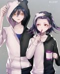 2boys alternate_costume artist_name bangs black_hair black_jacket blue_shirt collarbone commentary_request cup danganronpa eye_contact grey_background hair_between_eyes hair_ornament holding holding_cup hood hood_down hood_up hooded_jacket hoodie jacket long_sleeves looking_at_another medium_hair monokuma multiple_boys new_danganronpa_v3 ouma_kokichi purple_hair saihara_shuuichi shirt short_hair toothbrush two-tone_jacket violet_eyes white_jacket yellow_eyes z-epto_(chat-noir86)