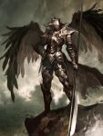 1other armor black_wings clouds cloudy_sky feathered_wings gauntlets glaive greaves grey_sky hand_on_hip helmet holding holding_weapon kyoung_hwan_kim medium_hair outdoors pauldrons rock silver_hair sky solo standing torn_clothes weapon wings
