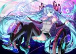 1girl bare_shoulders black_footwear black_gloves black_legwear black_skirt blue_eyes blue_hair blue_neckwear boots breasts closed_mouth collared_shirt commentary_request elbow_gloves full_body gloves goggles grey_shirt hatsune_miku headgear hexagon long_hair looking_at_viewer necktie official_art partly_fingerless_gloves pleated_skirt shirt shoe_soles skirt sleeveless sleeveless_shirt small_breasts smile solo thigh-highs thighhighs_under_boots twintails very_long_hair vocaloid yuuki_kira