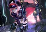 1girl belt black_jacket blue_eyes commentary_request copyright_request gun hair_ornament hat highres holding holding_gun holding_weapon jacket looking_at_viewer military military_uniform official_art peaked_cap pink_hair rain robot_animal science_fiction thigh-highs thigh_strap uniform vardan weapon