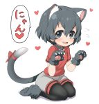 1girl animal_ear_fluff animal_ears black_collar black_hair black_legwear blue_eyes blush cat_ears cat_girl cat_tail collar commentary_request extra_ears eyebrows_visible_through_hair fang flying_sweatdrops fur_trim gloves heart kaban_(kemono_friends) kemono_friends kemonomimi_mode no_hat no_headwear open_mouth pantyhose paw_boots paw_gloves paw_pose paws ransusan red_shirt seiza shirt short_hair short_sleeves shorts sitting solo t-shirt tail translation_request