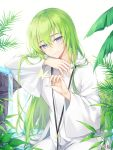 1other bangs closed_mouth commentary_request enkidu_(fate/strange_fake) eyebrows_visible_through_hair fate/strange_fake fate_(series) green_hair hair_between_eyes hood hood_down hooded_robe long_hair long_sleeves looking_at_viewer pong_(vndn124) robe signature smile solo very_long_hair violet_eyes water waterfall white_robe wide_sleeves