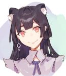 1girl animal_ears black_hair blue_ribbon cat_ears closed_mouth earrings eyebrows_visible_through_hair face fifuth jewelry mole mole_under_eye original red_eyes ribbon short_eyebrows sketch smile solo