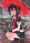 1girl ahoge bangs black_gloves black_legwear black_skirt blue_eyes blush braid breasts brown_footwear brown_hair fingerless_gloves full_body gloves hair_flaps hair_ornament hair_over_shoulder highres holding holding_umbrella kantai_collection open_mouth outdoors pleated_skirt rain red_neckwear red_umbrella remodel_(kantai_collection) sailor_collar school_uniform serafuku shigure_(kantai_collection) shoes short_sleeves single_braid skirt socks solo squatting sugue_tettou twitter_username umbrella