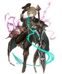 1girl aiguillette aqua_eyes bags_under_eyes birdcage black_gloves boots brown_hair cage cloak eyebrows_visible_through_hair full_body gloves gretel_(sinoalice) hansel_(sinoalice) hat holding holding_hat ji_no looking_at_viewer medal military military_uniform official_art peaked_cap short_hair sinoalice smile solo sword transparent_background uniform weapon