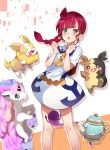 1girl absurdres bangs braid character_request commentary_request dress eyebrows_visible_through_hair feet_out_of_frame highres horn kazanock long_hair pokemon pokemon_(creature) pokemon_(game) pokemon_swsh short_sleeves solo white_dress