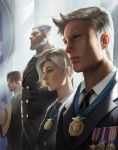 1girl 3boys beard blonde_hair brown_hair contemporary eyelashes facial_hair formal grey_hair hat_on_chest highres lips mccree_(overwatch) medal mercy_(overwatch) military military_uniform multiple_boys necktie nose overwatch realistic reinhardt_(overwatch) scar scar_across_eye sidelighting signature soldier:_76_(overwatch) suit uniform upper_body wang_chen