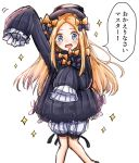 1girl abigail_williams_(fate/grand_order) admjgdme arm_up bangs black_bow black_dress black_headwear blonde_hair bloomers blue_eyes blush bow bug butterfly commentary_request dress fate/grand_order fate_(series) feet_out_of_frame forehead hair_bow hat highres insect knees_together_feet_apart long_hair long_sleeves looking_at_viewer open_mouth orange_bow parted_bangs polka_dot polka_dot_bow simple_background sketch sleeves_past_fingers sleeves_past_wrists solo sparkle translation_request underwear very_long_hair white_background white_bloomers
