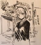 1girl bicycle breasts building closed_mouth dagashi_kashi flower greyscale ground_vehicle hair_flower hair_ornament hairband kotoyama looking_at_viewer monochrome ringed_eyes shidare_hotaru sketch solo sweater