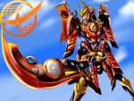 1boy armor belt blue_sky clouds cloudy_sky flag food fruit gauntlets helmet highres holding holding_sword holding_weapon kamen_rider kamen_rider_gaim kamen_rider_gaim_(series) lock_seed male_focus mask monchian pauldrons sengoku_driver sky solo sunrise_stance sword tokusatsu weapon