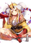 1girl absurdres black_panties blonde_hair closed_mouth cup fate/grand_order fate_(series) full_body hair_ribbon highres holding ibaraki_douji_(fate/grand_order) indian_style japanese_clothes kimono long_hair looking_at_viewer manichi oni_horns panties red_skin ribbon rope sakazuki simple_background sitting smile solo underwear white_background white_ribbon yellow_eyes yellow_kimono