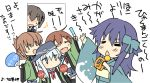 0_0 4girls akatsuki_(kantai_collection) alternate_costume anchor_symbol black_hair blue_eyes blue_kimono brown_hair commentary_request cowboy_shot fan fang flat_cap folded_ponytail happi hat hibiki_(kantai_collection) hizuki_yayoi ikazuchi_(kantai_collection) inazuma_(kantai_collection) japanese_clothes kaga_(kantai_collection) kantai_collection kimono long_hair messy_hair microphone multiple_girls muneate music paper_fan purple_hair school_uniform serafuku short_hair side_ponytail singing skin_fang solo_focus translation_request uchiwa white_hair