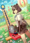 1girl :d animal_ears ass balloon bangs bear_ears bear_paw_hammer bear_tail bike_shorts black_skirt blue_neckwear blurry blurry_background bow bowtie brown_bear_(kemono_friends) brown_eyes brown_hair day dutch_angle extra_ears eyebrows_visible_through_hair from_behind grass hair_between_eyes kemono_friends kemono_friends_3 long_sleeves looking_at_viewer looking_back open_mouth outdoors shirt short_over_long_sleeves short_sleeves skirt smile solo standing tail tobi_(kotetsu) white_shirt