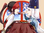 2boys abe_no_seimei_(onmyoji) beads black_hair blue_eyes blue_ribbon blue_sky bowl cherry_blossoms chibi chinese_clothes chopsticks clouds eating hat highres holding holding_bowl holding_chopsticks jewelry long_hair long_sleeves looking_at_another male_focus minamoto_no_hiromasa multicolored_hair multiple_boys onmyoji open_mouth ponytail red_eyes redhead ribbon sky table tate_eboshi tiyi_(tiyi_a09) two-tone_hair very_long_hair white_hair window